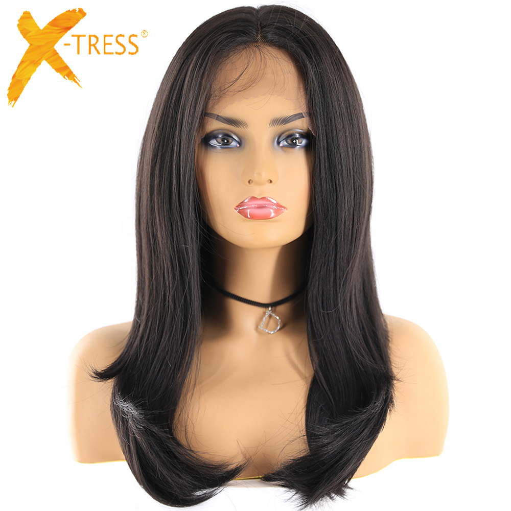 Natural Black Color 13x4 Lace Wigs For Women X-TRESS Long Straight Lace Front Synthetic Hair Wig Middle/Free Part With Baby Hair