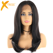 Natural Black Color 13x4 Lace Wigs For Women X-TRESS Long Straight Lace Front Sy