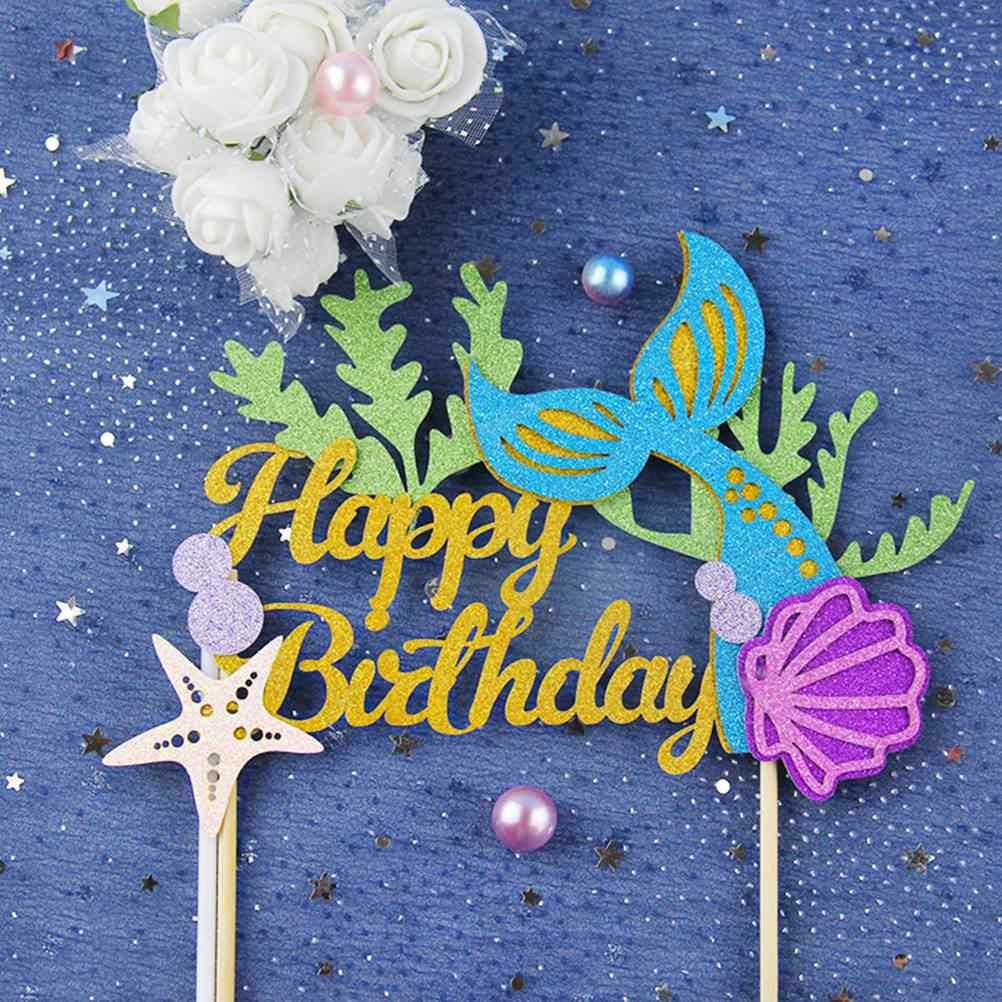 2 шт. красивый Забавный Блестящий Декор хвост русалки торт Топпер Морская звезда палочки для торта на день рождения, праздник, Детские вечерние A20