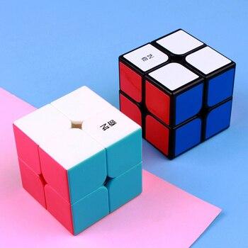 Qiyi qidi 2x2x2 magic speed 2x2 cube mini pocket professional puzzle cube educational game toys gift for children yongjun mirror 2x2x2 magic cube yj 2x2 professional speed puzzle antistress educational toys for children
