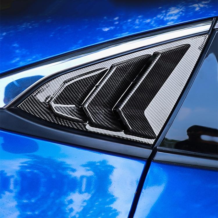 2pcs Black Carbon Fiber Car Window Triangle Trims Styling For Honda Civic 10th 2017 2018 2019 Accessories