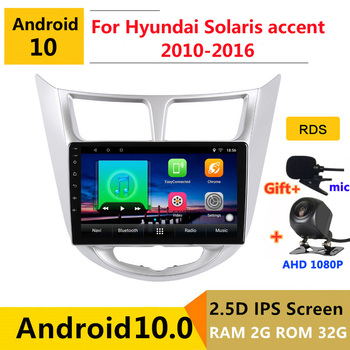 Android 10 Car DVD Multimedia Player GPS For Hyundai Solaris accent Verna i25 2010-2016 audio auto radio stereo navigatio image
