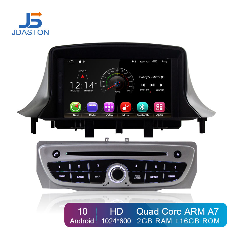 JDASTON Android 10 Car <font><b>DVD</b></font> Player For RENAULT <font><b>Megane</b></font> III Fluence Wifi <font><b>GPS</b></font> Navigation 1 Din Car Radio Stereo multimedia Headunit image