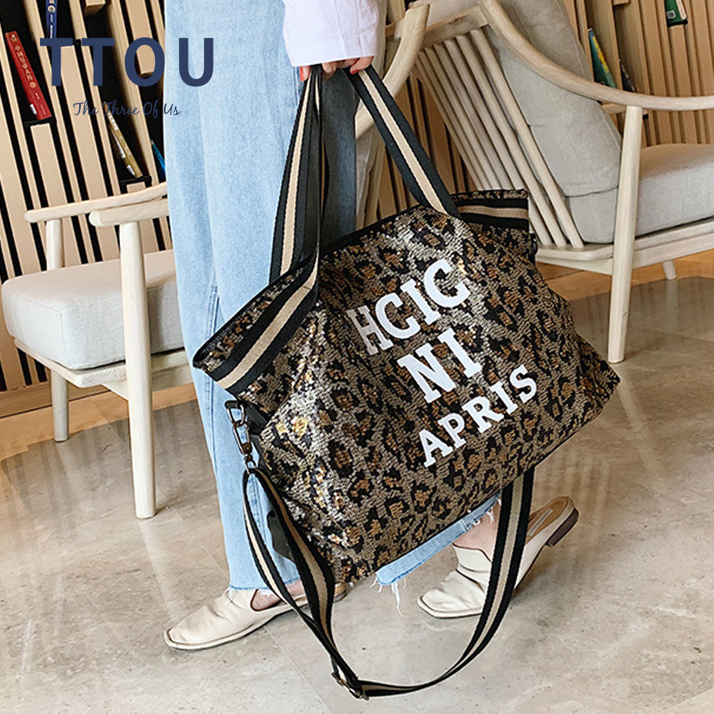 Casual Women Bling Sequins Shoulder Bags Big Capacity Female Handbag For Lady Travel Large Tote Letter Printed Crossbody Bags