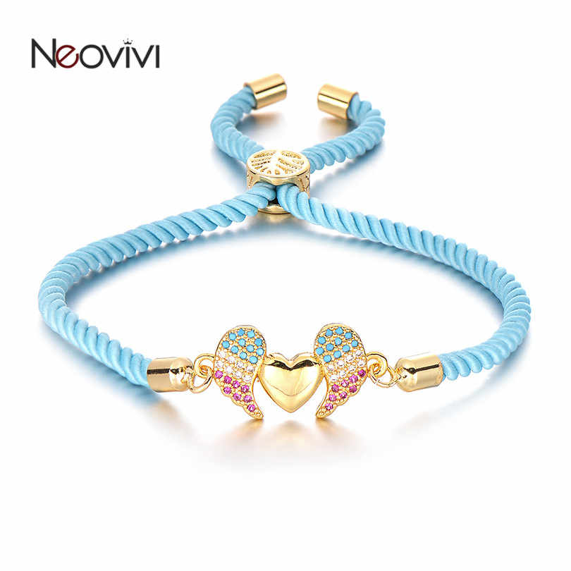Neovivi יפה מעופף לב קסם CZ כנפי צמידי נשים גברים צבעוני חבל מחרוזת צמידי זוג רומנטי תכשיטי מתנות