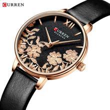 CURREN นาฬิกาผู้หญิงดอกไม้ประณีตออกแบบนาฬิกาแฟชั่น Casual Quartz นาฬิกาผู้หญิงนาฬิกากันน้ำ