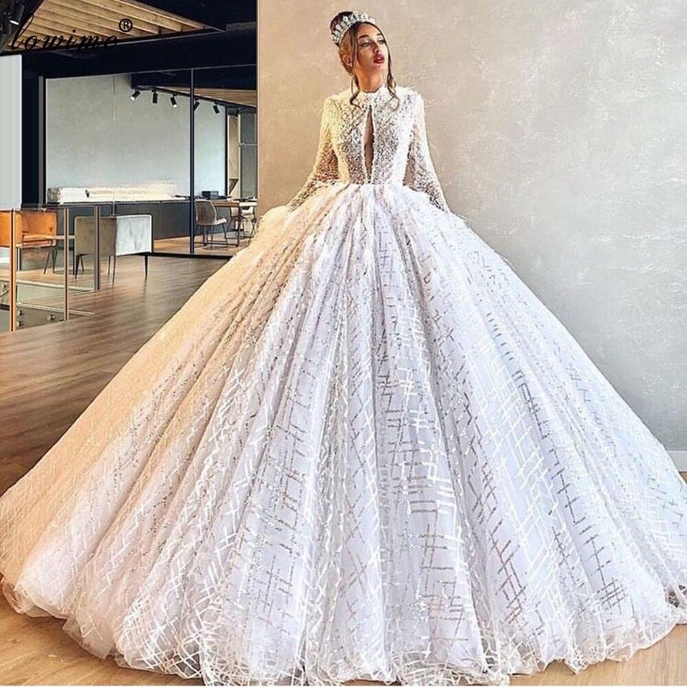 New Elegant Glitter Wedding Dresses 2020 A-Line Long Sleeves Bridal Gowns Princess Vestido De Noiva 2020 White Robe De Mariee