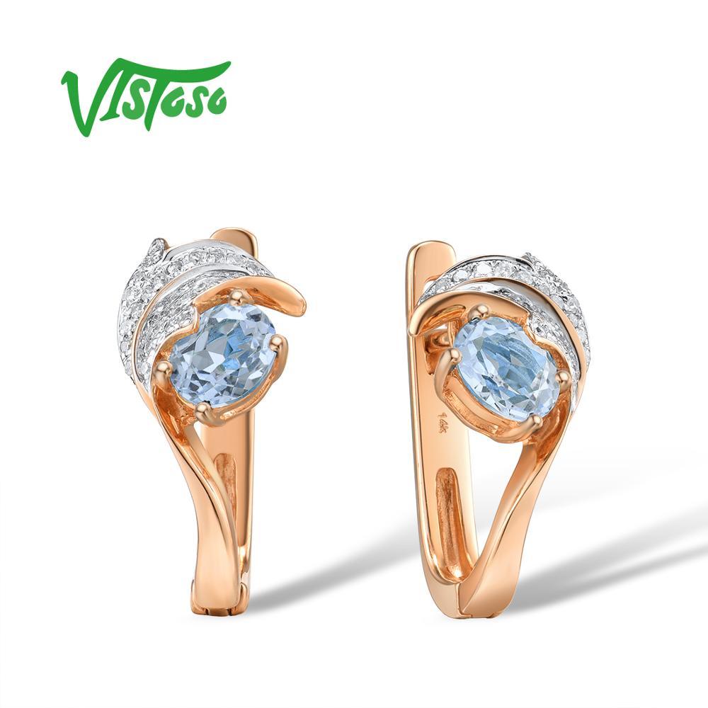 VISTOSO 여성용 골드 귀걸이 14K 585 로즈 골드 글래머러스 한 반짝이는 스카이 블루 토파즈 스파클링 다이아몬드 럭셔리 트렌디 파인 쥬얼리