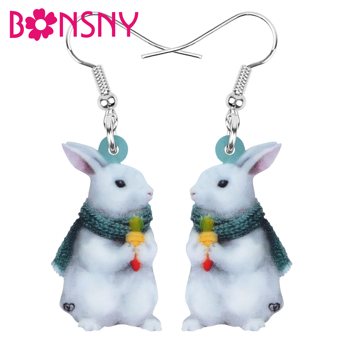 Bonsny Acrylic White Easter Hare Rabbit Bunny Pet Earrings Print Animal Dangle Drop Jewelry For Women Girl Charm Gift Accessory