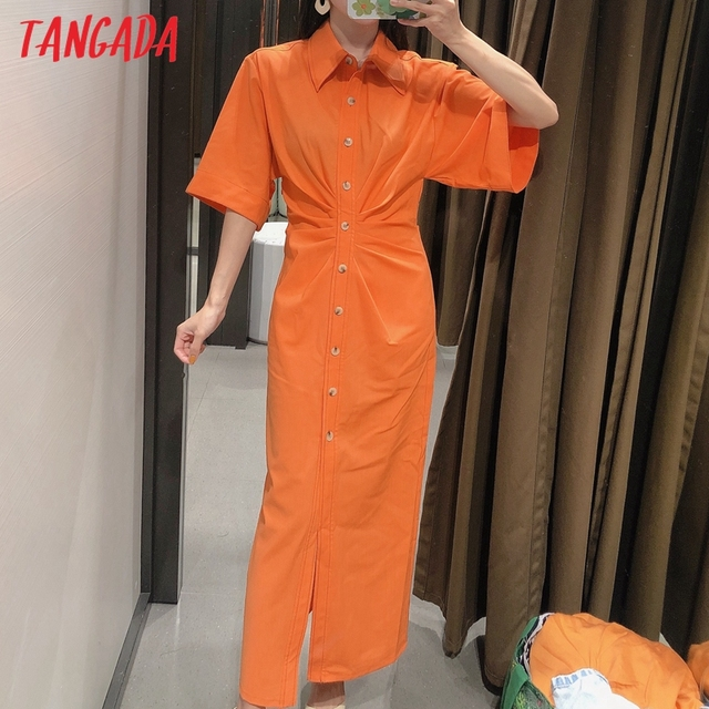 Tangada fashion women solid orange tunic dress short sleeve elegant ladies midi dress vestidos 3H906 2