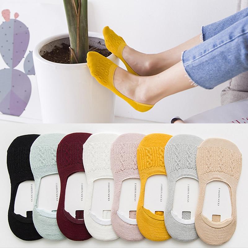 Women's Socks Solid Snowflake Softable Funny Cotton Socks Women Summer Slipper Invisible Socks Hot Sale No Show Socks 5 Pairs