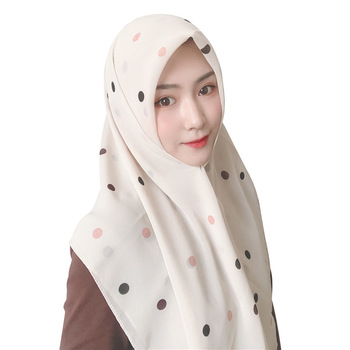 2020 chiffon muslim headscarf Polka dot print square scarf hijab for women islamic turban headwrap malaysia bawal hijab shawl new 100% silk jacquard square hjiab muslim scarf turban ultralight retro shawl turkish hijab women islamic headscarf 1pc