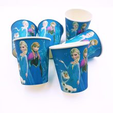 6pcs/bag Frozen Anna And Elsa Party Decoration Paper Cups Disposable Tableware Cartoon Pattern Kids Party Supplies(China)