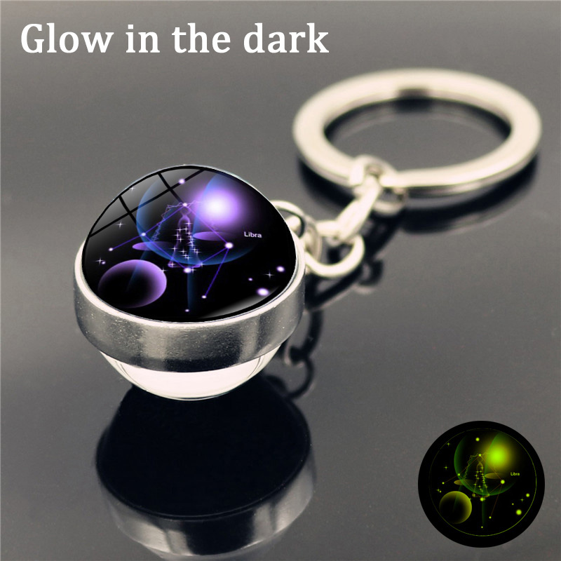 Fashion 12 Constellation Keychain Luminous Double Sided Glass Ball Keyring Gifts
