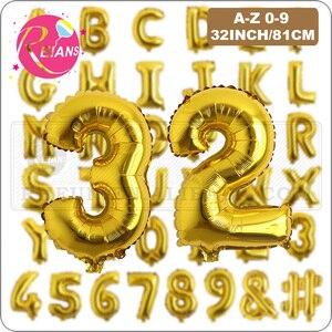 32-дюймовый Золотой A-Z фольга воздушные шарики с буквами и цифрами, для свадебных вечеринок, супер большие украшения для дня рождения, детски...