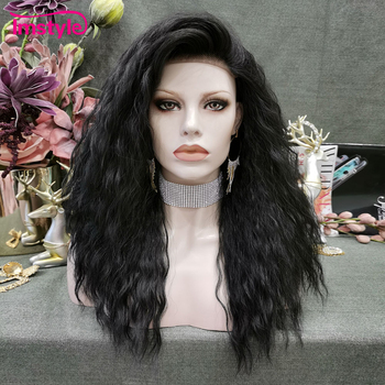 Imstyle Black Wig Synthetic Lace Front Wig Natural Wave Wigs For Black Women Heat Resistant Fiber Side Part Wig 180% density heat resistant fiber syntehtilace lace front wig body wave black hair synthetic wigs for black women free shipping