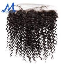 Missblue – Extensions de cheveux brésiliens naturels Remy, Deep Wave, 13x4, oreille à oreille, pre-plucked, avec Lace Frontal Closure