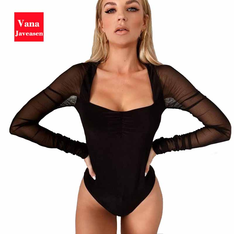 Vana Javeasen Black Mesh Long Sleeves Bodysuit Women Sexy Patchwork Square Collar Jumpsuits Office Lady Catsuit Bodysuits Thong