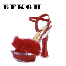 Clear Heels Woman Sandals Square Heel Open Toe High Heels 14cm Platform Sandals Shoes Woman Gladiator Party Dress Women Shoe Red aneikeh high heels sandals women summer shoes elastic band open toe gladiator wedding party dress shoes woman sandals apricot