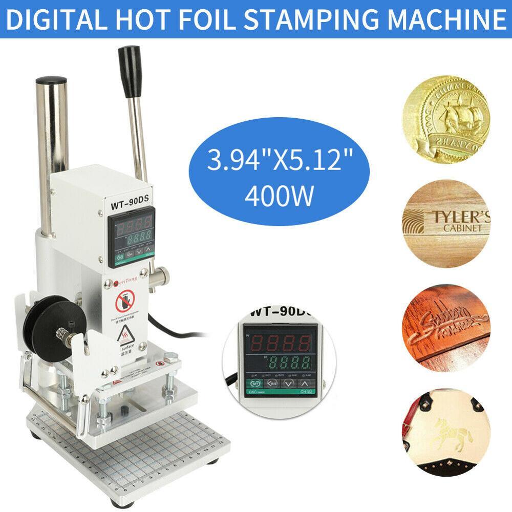 110V 10x13cm cyfrowa maszyna stemplująca gorącą folią prasa termiczna maszyna drewno plastikowa skóra pcv ze skóry na karty PU tłoczenie brązujący