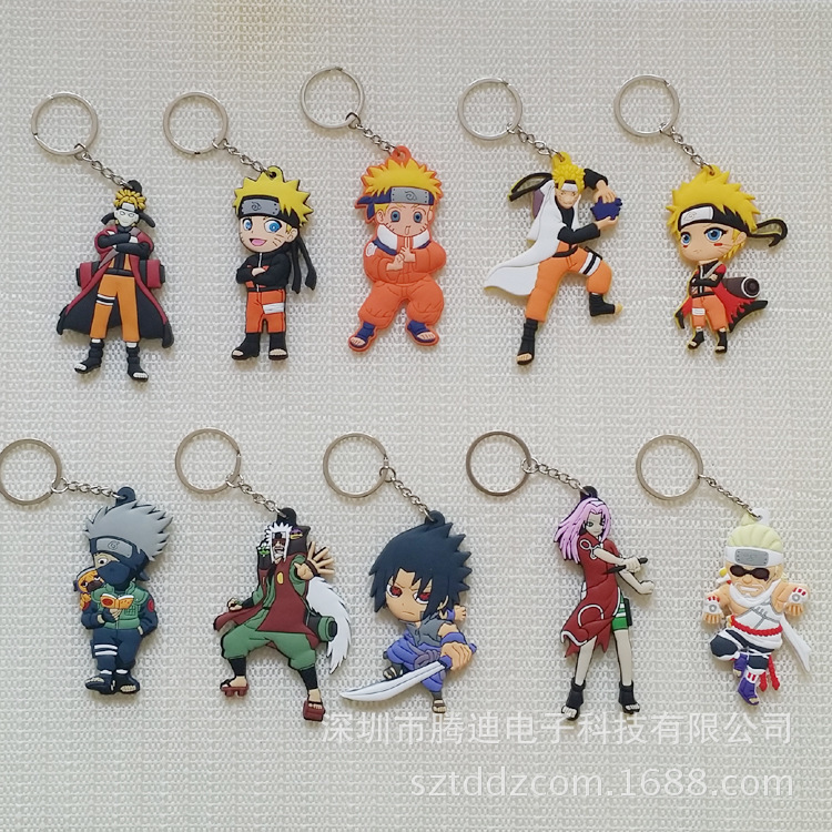 1PCS Cartoon Character Comics Naruto Key Chain PVC Anime Figure 3D Double Side Key Ring Keychain Kid Toy Key Holder Trinket Gift
