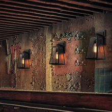 American Vintage Outdoor wall lamp Iron black Glass luminaria porch light Industrial indoor hotel coffee shop Wall Light Garden