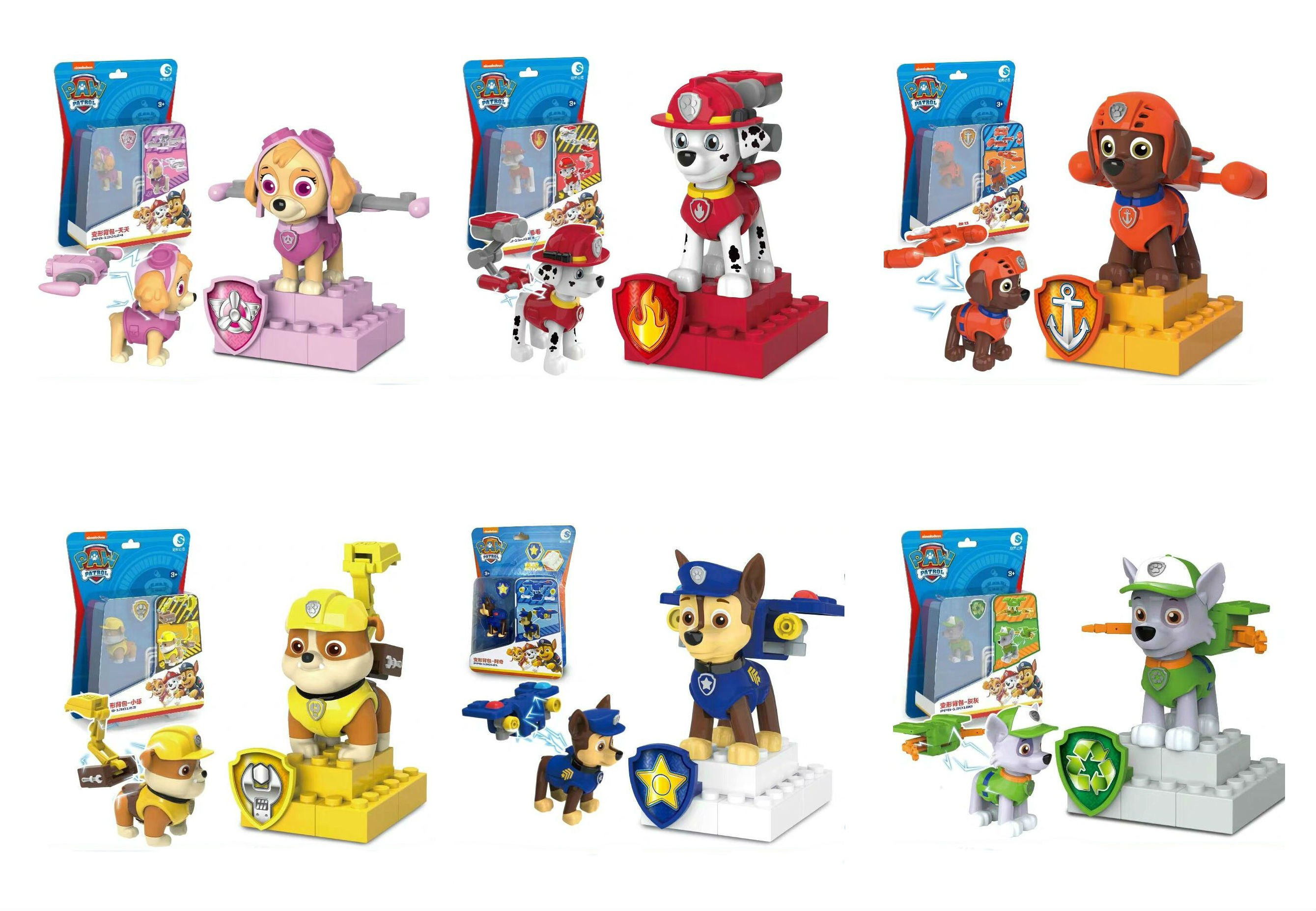 2020 Original Box Paw Patrol Chase Marshall Skye Rubble Apollo Rocky Mini Building Blocks Children Toy Kids Birthday Gift Doll