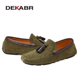 Image 3 - Dekabr本革男性靴春のファッション革の男性フラッツ新高品質カジュアルシューズを駆動するための