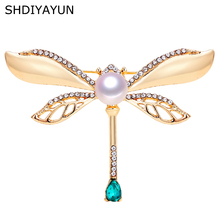 SHDIYAYUN 2019 New Pearl Brooch Vintage Dragonfly Brooch For Women Gold Brooch Pins Natural Freshwater Pearl Jewelry Decoration victorian vintage dark blue crystal burst star brooch gold tone imitated pearl deco domed round pink stone cross pins for outfit