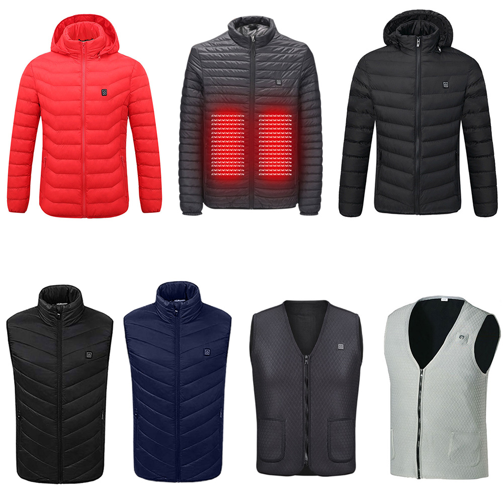 5XL Temperature Ajustable Coat USB Rechargeable USB Heated Coat Heating Jacket Zipper Washable Electric Vest Heated Waterproof