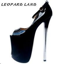 LTARTA/женские тонкие туфли из лакированной кожи на платформе и очень высоком каблуке 22 см с открытым носком пикантная женская обувь больших размеров MJL-6679-1