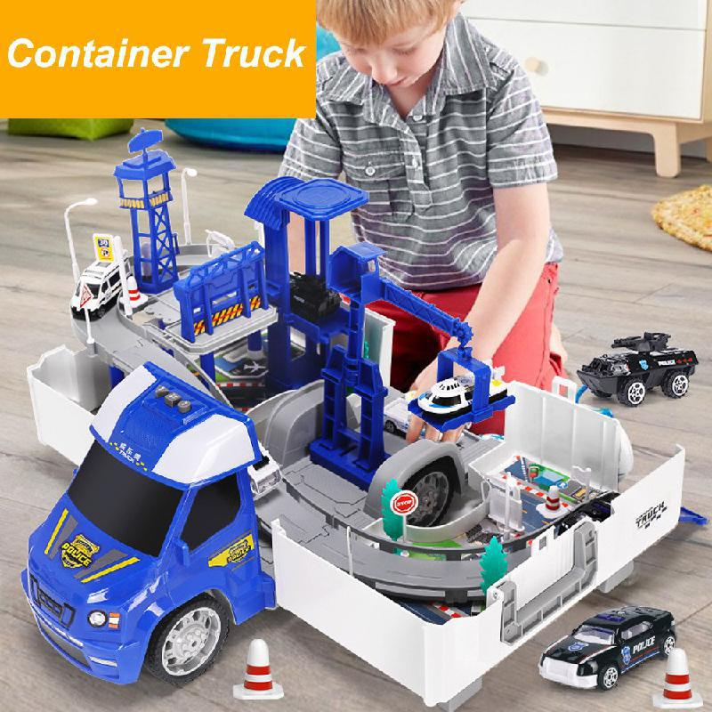 NEW 2in1 Railway Racing Tracks Electric Car Toys Parking Lot With Light Music Assemble Container Truck Track Toys For Kids Gift