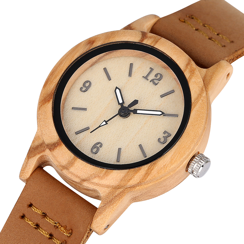 Natural Brown Case Wooden Watch For Women Typical Genuine Leather Brown Strap Handmade Wood Wristwatch Gift Orologio Donna
