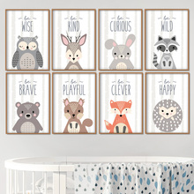 Owl Rabbit Bear Deer Fox Nursery Wall Art Canvas Painting Cartoon Nordic Posters & Prints Pictures Girl Boy Kids Room Decor