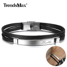 Bracelets Customizable Jewelry Engraving Gift Multi-Layer Stainless-Steel Men Personalized