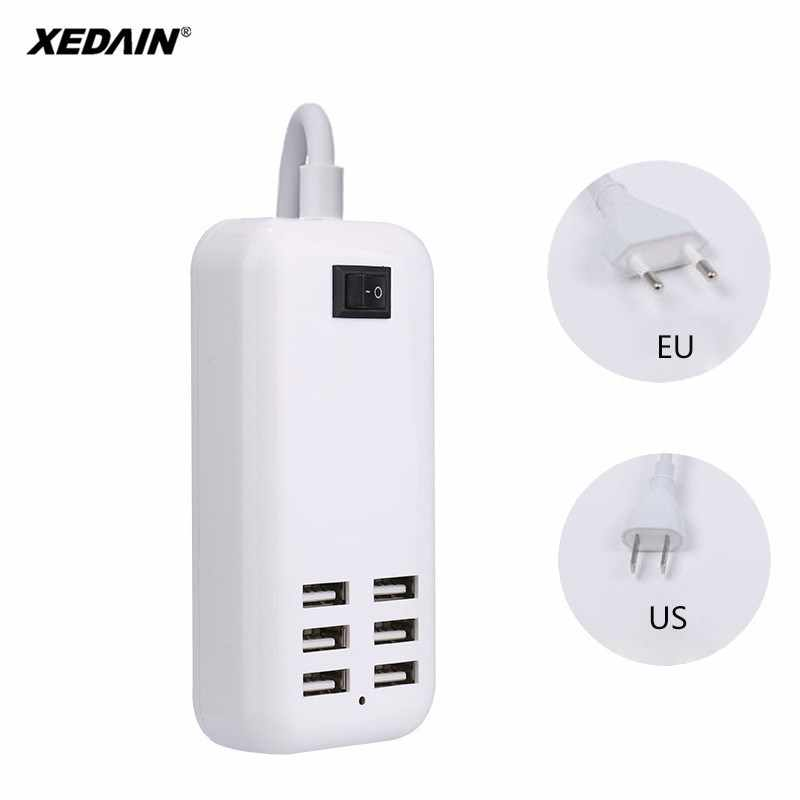 Xedain EU/US 3A Plug Soket Dinding Dermaga Pengisian Cepat Ekstensi Power Adapter untuk Ponsel Tablet Baik USB charger Hub 6 Port