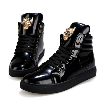 New Fashion High Top Casual Shoes For Men PU Leather Lace Up Red White Black Color Mens Casual Shoes Men High Top Shoes