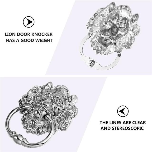 1 pc Front Door Handle Antique Silver Tone Lion Head Zinc Alloy Pull Ring Door Knocker Door Handle for Drawer Cabinet 6
