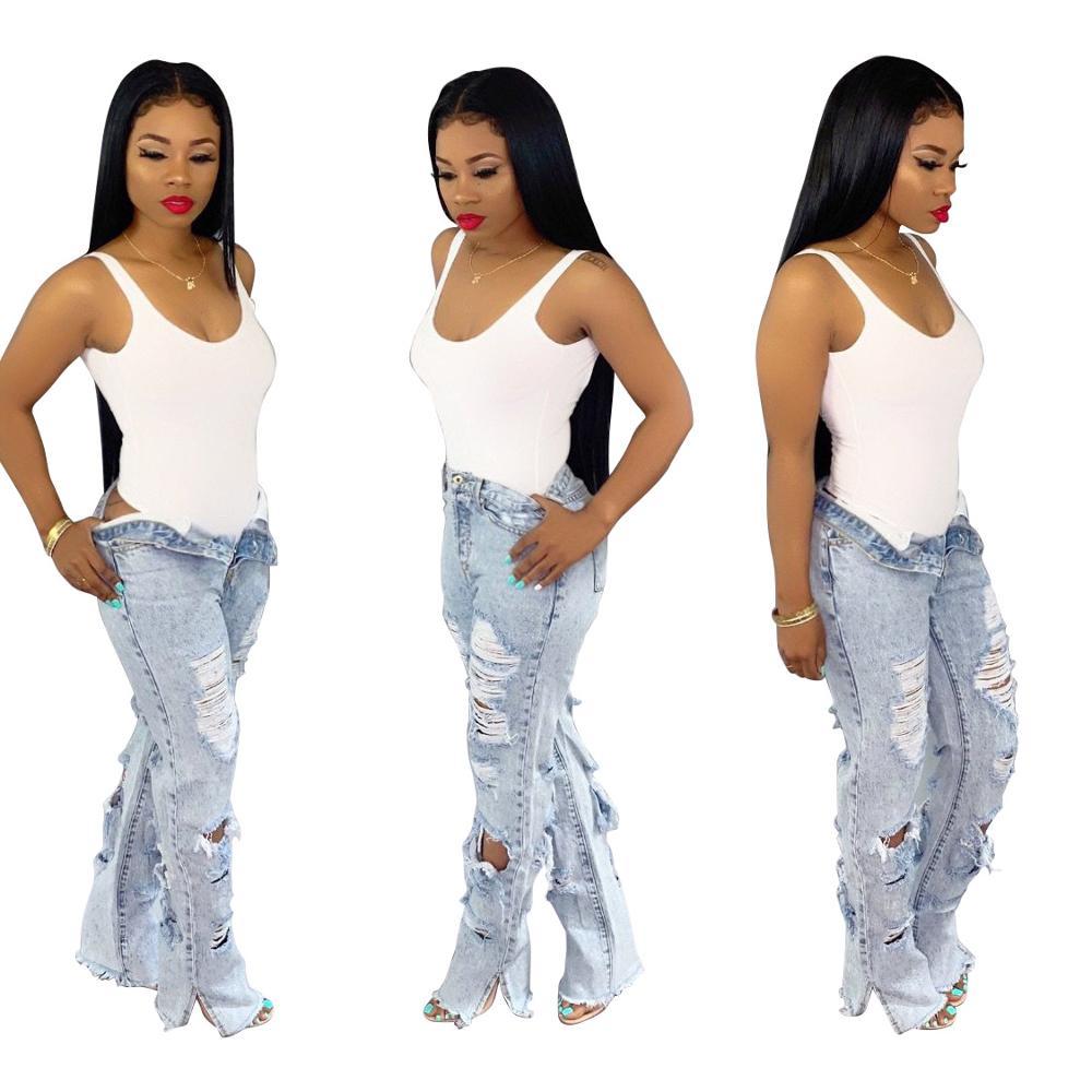 2020 Summer High Waist Mom Jeans Ripped Flare Jeans For Women Bleach Skinny Jeans Woman Plus Size Female Denim Wide Leg Pants