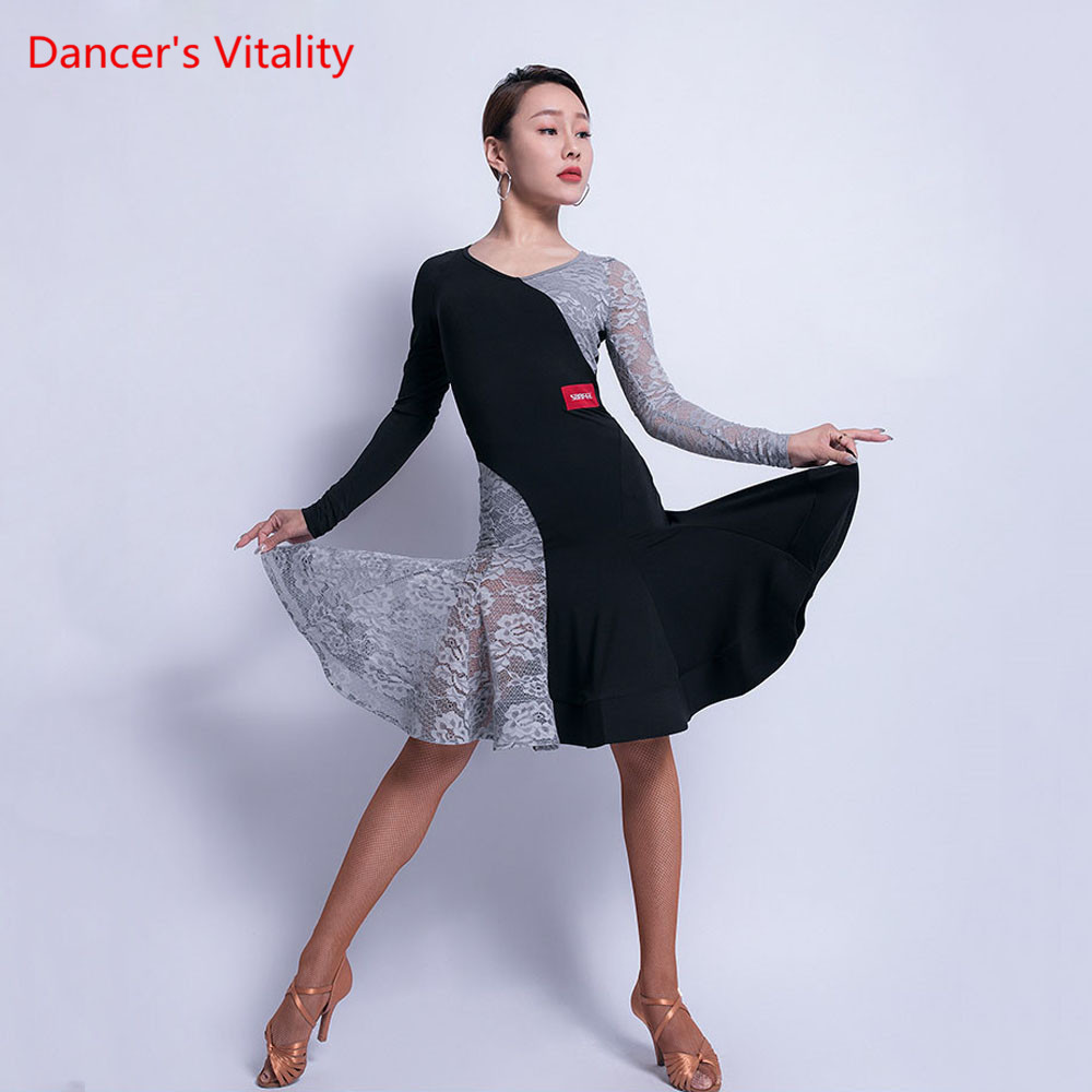 New Latin Dance Skirt Female Adult Sexy Dress Long-Sleeved Performance Dance Clothes Professional Practice Clothing