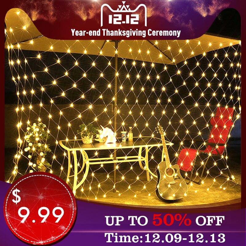 Christmas Decoracion LED Outdoor Net Lights Fishing Net Lights String Xmas Party Garden Wedding Curtain Outdoor Led Fairy Lights