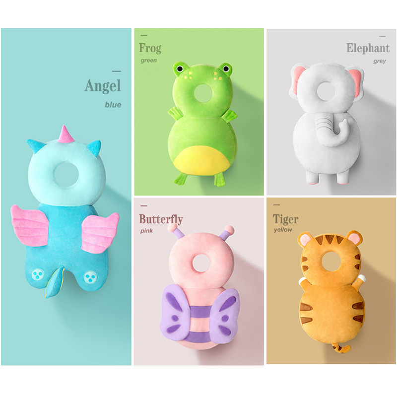 Super Headrest Newborn Baby Head Protection Cushion Cartoon Soft Security Pillow Sticker Butterfly Backpack Protection Cool Toys