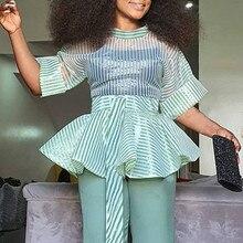 Women Blouses Sexy Thin Transparent Striped Waist Belt See Through Peplum Tops Shirt Plus Size Fashion Bluas Party Date Birthday