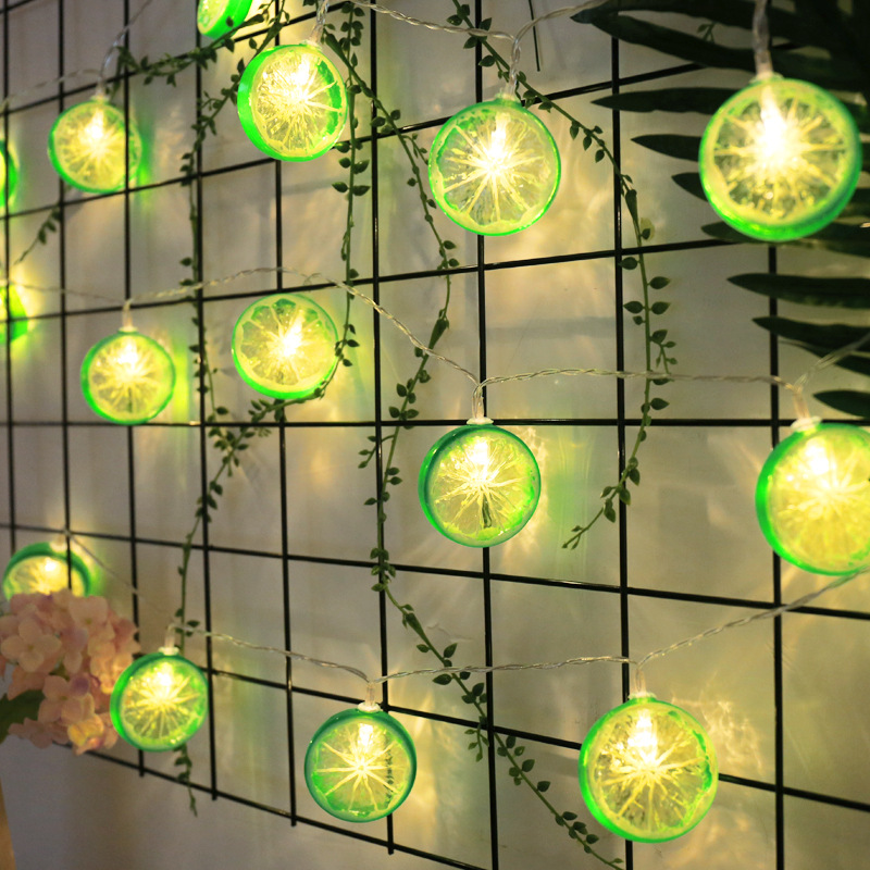 Lemon Slices String Lights Battery Operated EU Plug Garland Lights Fairy Lamp Bedroom Christmas Halloween Wedding Decoration
