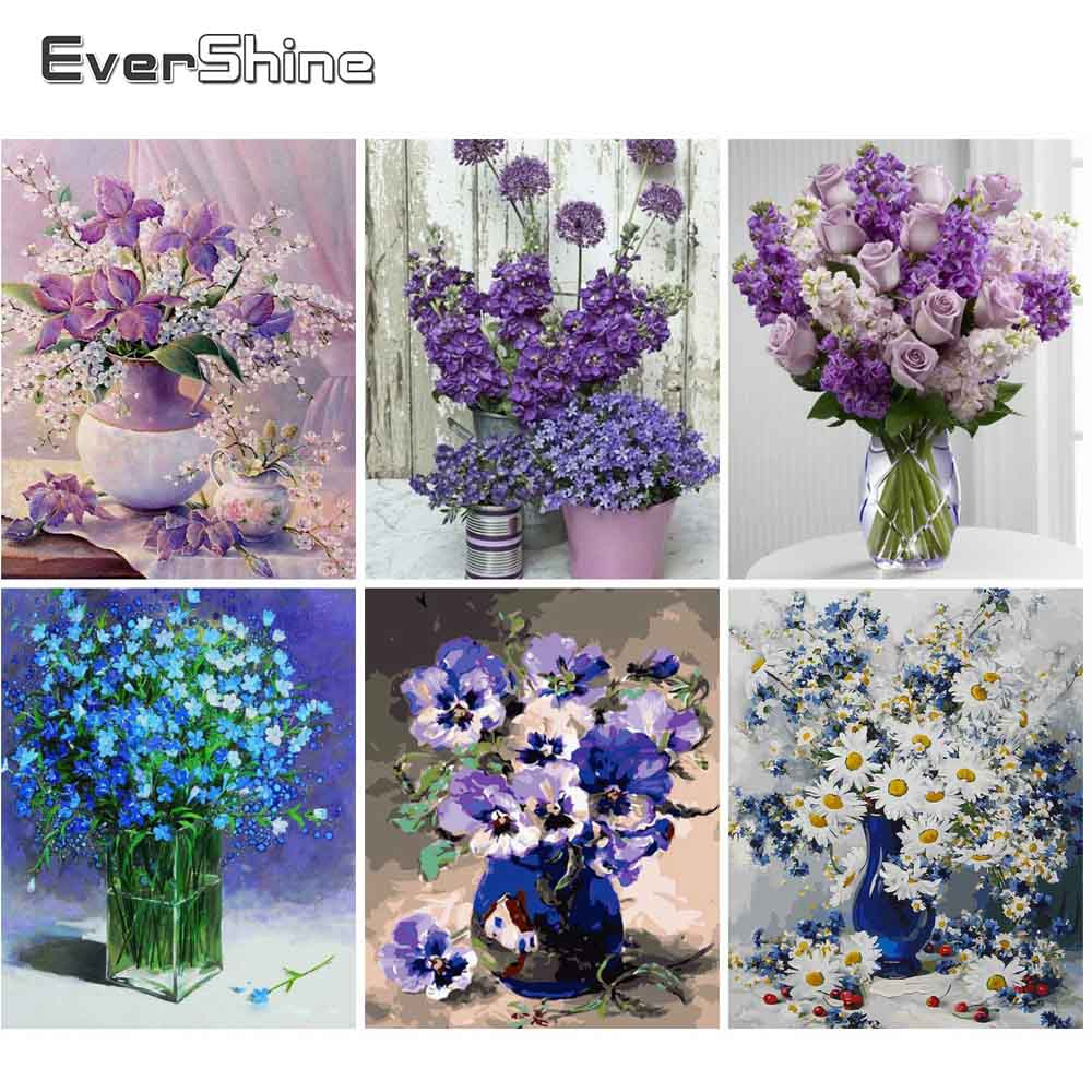 EverShine Adult Paint By Numbers Flowers Home Canvas Painting Coloring By Numbers Wall Art Home Decor