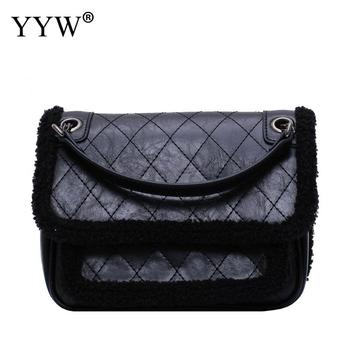 Brand Designer Lambswool Fur Patchwork Shoulder Bags Winter Luxury Chains Large Leather Handbags With Mini Women Messenger Bag