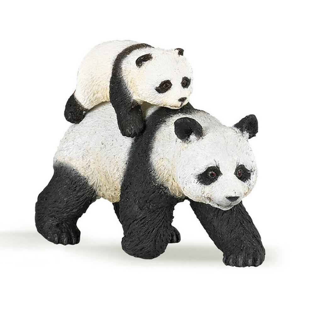 Имитация панды и младенца, 3 дюйма, модель диких животных в лесу, фигурка дикой жизни, ПВХ игрушка, фигурки животных, 50071 подарок для детей