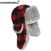 SHOWERSMILE Red Plaid Women Winter Hats Female Trapper Hat Earflap Cashmere Warm Thick Hunter Snow Ski Brand Fur Russian Cap