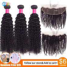"BY Brazilian kinky Curly Bundles With Lace Frontal Closure Free Part 13""x4"" Swiss Lace Remy Human Hair Bundles With Closure(China)"