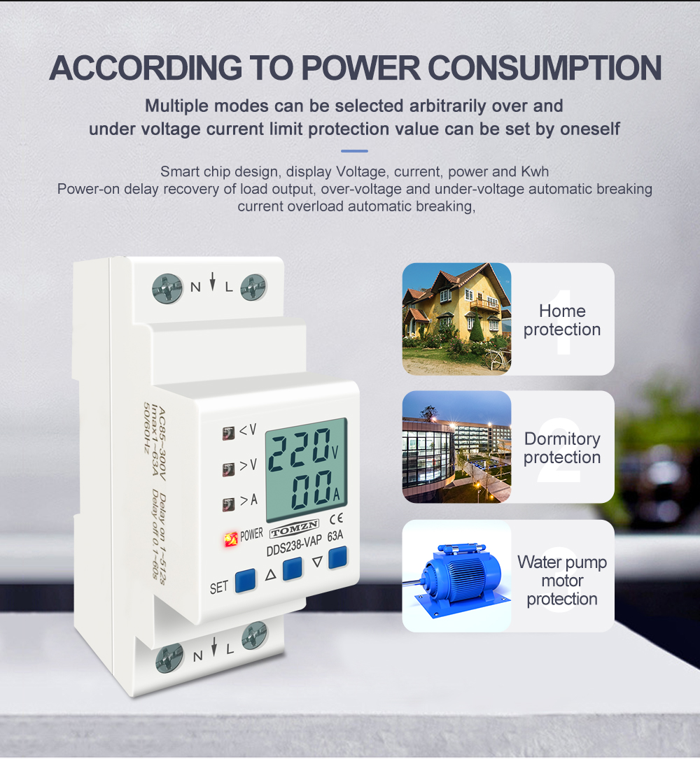 Hb1d8b292530d49deaf5488f3f1c25c71k - 63A 80A 110V 230V Din rail adjustable over under voltage protective device current limit protection Voltmeter ammeter Kwh